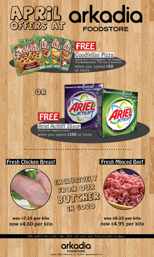 April Offers and Arkadia Foodstore