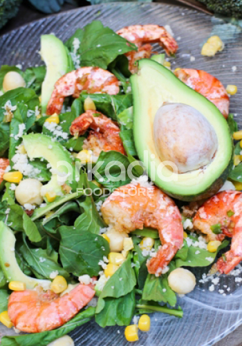 Salad with Warm Prawns, Avocado and Macadamia Nuts