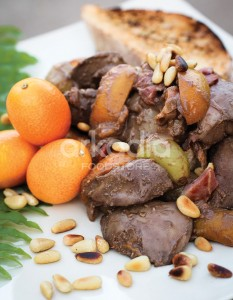 Chicken Livers with Smoked Bacon, Grapes & Apricots