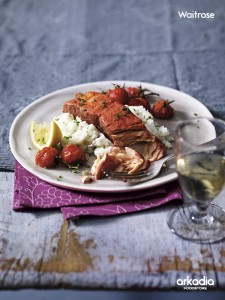 Tandoori Salmon with Roasted Tomatoes & Chive Mash